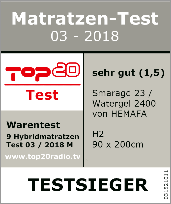 top 20 matratzen test 2018 testsieger hemafa watergel. Black Bedroom Furniture Sets. Home Design Ideas
